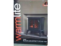 Warm lite 2000W Log Effect Stove Fire (Black)