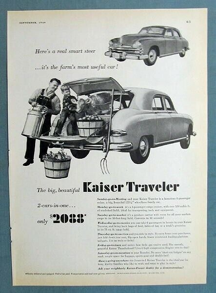 8x11 1949 Kaiser Traveler Ad HERES A REAL SMART STEER, MOST USEFUL CAR