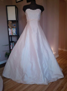 Trainless Ivory Silk Strapless A-Line, Never Worn, Size 8-12