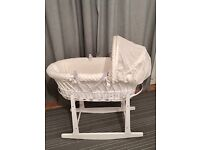 Cuddles Collection Dimple White Wicker Moses Basket with Rocking Stand - White