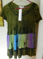 Today's Designer Womens Dark Green Tunic Top NEW Large