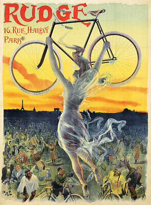 Rudge vintage bicycle ad poster repro 12x16