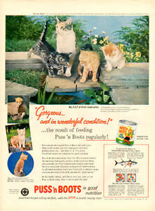 1957 full page color ad for Puss 'n Boots Cat Food