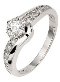 Love Diamond 9 Carat White Gold 25Pt Diamond Illusion-Set Solitaire Twist Ring £225.00