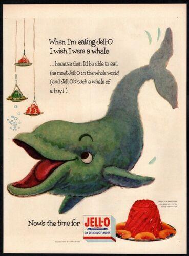 1954 JELL-O - Cute Whale Eating Dessert - Animal - Retro Original VINTAGE AD