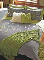 Housse couette grande fleurs lime turquoise blanc Simons Queen