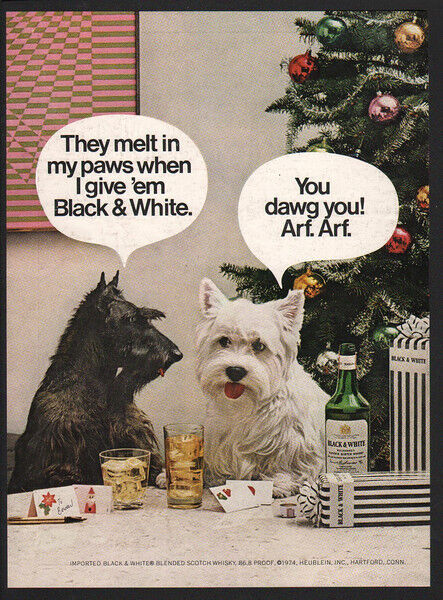 1974 BLACK & WHITE Scotch - Cute Scottish Terrier Dogs Christmas Tree VINTAGE AD