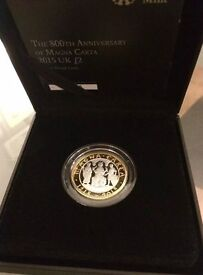 Silver Proof Magna Carter 800th Anniversary 2015 UK £2 coin.
