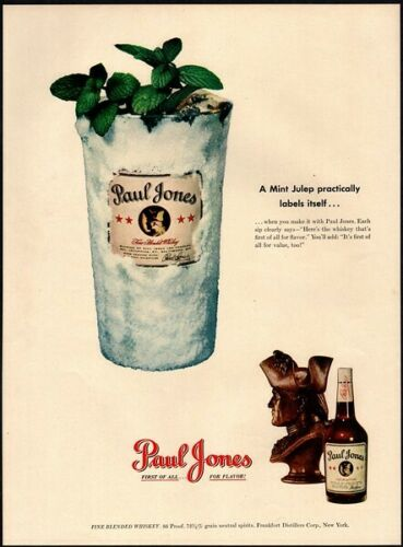 1949 PAUL JONES Whiskey - Mint Julep - Glass - Classy - Bar - Retro VINTAGE AD