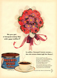 1954 full-page color magazine ad for Maxwell House Coffee
