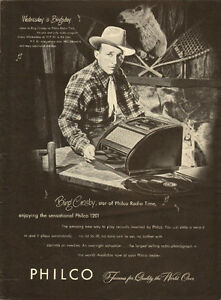 1947 full page ad for Philco 1201 Record Player wth Bing Crosby