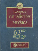 CRC Handbook of Chemistry and Physics 63rd edition 1982-1983 hc