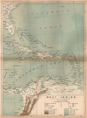 West Indies. Caribbean. The American Mediterranean 1885 old antique map chart