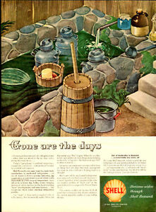 Large 1946 full-page, color print ad for Shell Oil