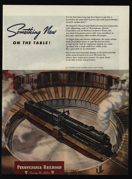 1945 PENNSYLVANIA Railroad Locomotive Roundhouse - WWII War Bonds - VINTAGE AD