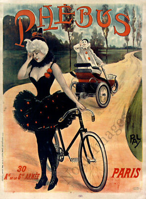Phebus vintage bicycle automobile ad poster repro 18x24