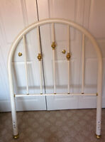 Ornamental single size metal headboard, white with gold trim