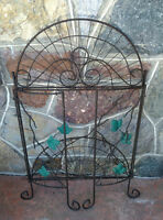 Black Metal Plant Stand with Vine leaves.