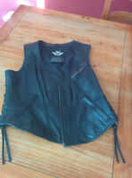 Veste  cuir femme sans manche HD Sleeveless Leather Jacket Large