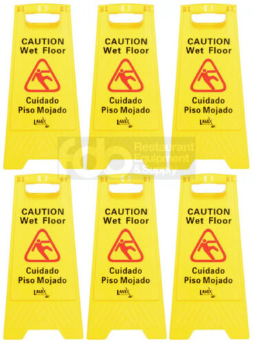 """6 PACK Restaurant Caution Wet Floor Yellow 25"""" Folding Sign Commercial"""