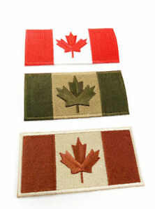 "Canadian Flag Patch 4""x2"" Adhesive/Sew-On Military OD"