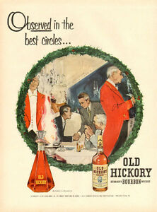 1954 full page Christmas color ad for Old Hickory Bourbon