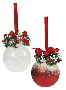 Red-and-White-Frosty-Christmas-Tree-Decorations-set-of-2-NEW-19644