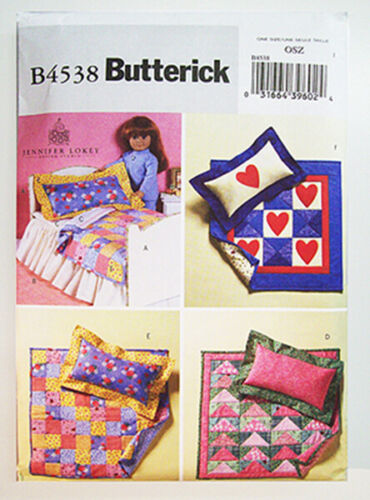 """BUTTERICK 4538 Bed & Quilts pattern - American made - for 18"""" girl dolls - NEW!-"""