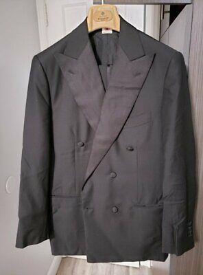 Luigi Borrelli Napoli Black Double Breasted Tuxedo 38/48 Wool Mohair