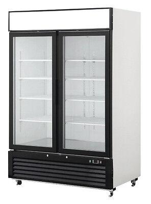 New 2 Double Door Glass Front Reach In Freezer Merchandiser Commercial Mcf8712