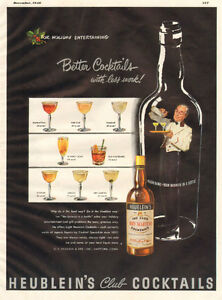 1948 full-page magazine ad for Heublein's Cocktails