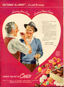 Large (10 ½  by 13 ½ ) 1947 full-page color candy ad