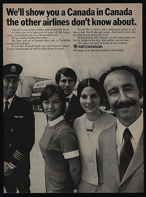 1970 Air Canada Airlines Pilot  Captain   Stewardess   Employees   Vintage Ad