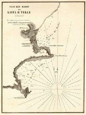 Feodosia & Tekle. 'Plan des Rades de Kaffa & Tekle'. Crimea. GAUTTIER 1854 map segunda mano  Embacar hacia Argentina