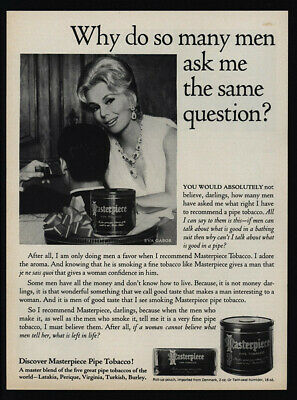 1965 MASTERPIECE Pipe Tobacco - EVA GABOR -  VINTAGE Magazine ADVERTISEMENT