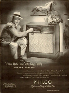 1947 full page ad for Philco 1260 radio with Bing Crosby