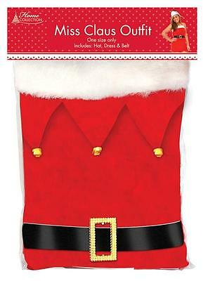 Christmas Miss Claus Xmas Santa Suit Fancy Dress Party Ladies Outfit Costume