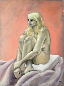Sitting Blonde, original acrylic on canvas board 30x22
