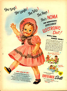 Large (10 ½ by 14) 1950 full-page color ad for Effanbee Dolls