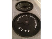 2x 20kg Olympic weight plates 40kg total