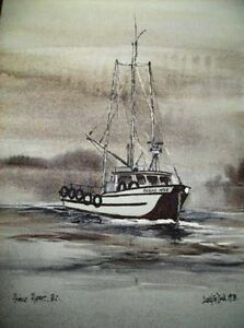 Painting of Boat ( NAUTICAL ) Framed/Signed/Dated == REDUCED