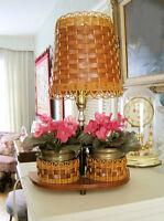 1960's Brass FLOWER POT Table LAMP - Wood Lampshade City of Montréal Greater Montréal Preview