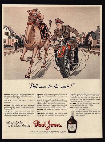 1941 Motorcycle Cop Pulls Over Camel - Police - PAUL JONES Whiskey - VINTAGE AD