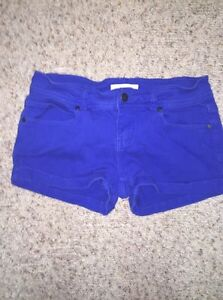Woman's blue high waisted shorts