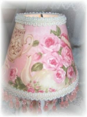 - Teapots & Shabby Pink Cottage Roses MINI Chandelier Lamp Shade with Pink Beading