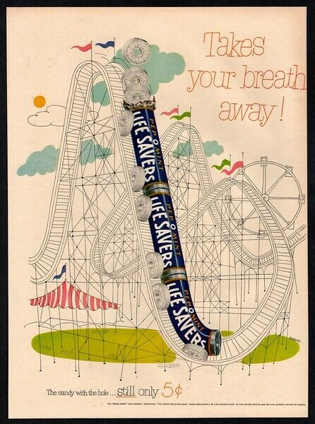 1952 LIFE SAVER Peppermint Candy - Roller Coaster Amusement Park Art VINTAGE AD
