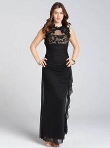Stunning Lace Illusion Neck Side Ruffle Gown - As New