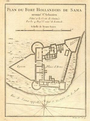 Fort Hollandois de Sama… St. Sebastien'. Cape Coast Castle Ghana BELLIN 1747 map