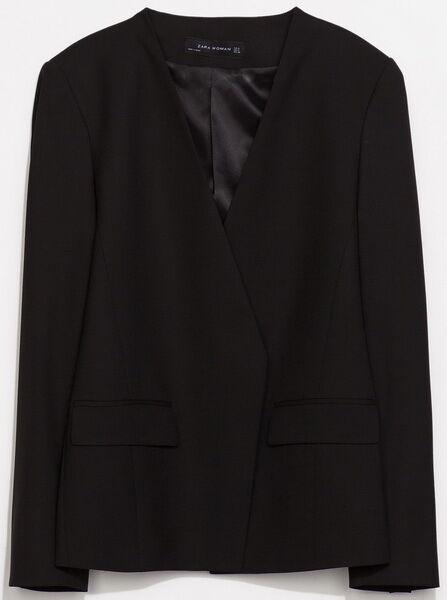 Zara Black Collarless Jacket Without Lapels XS | eBay