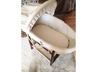 Moses basket and stand. Free local delivery.